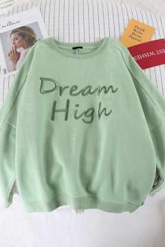 Ladies Fashion Plain Letter DREAM HIGH Printed Long Sleeve Baggy Pullover Sweatshirt