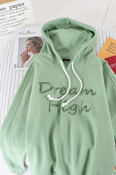 Womens Simple DREAM HIGH Letter Printed Long Sleeve Plain Oversized Thick Hoodie