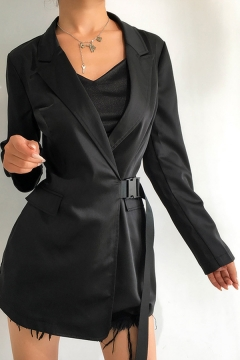 Womens Fashion Long Sleeve Flap Pocket Black Longline Blazer Coat with Push Buckle Belt
