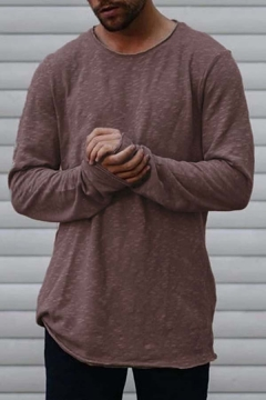 Hot Sale Plain Long Sleeves Round Neck Relaxed Loose Tunic T-Shirt Top for Men