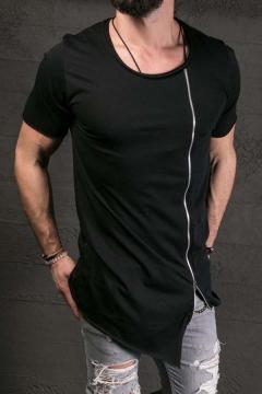 Hipster Hip Hop Style Plain Zipper Decoration Asymmetric Hem Short Sleeved T-Shirt for Men