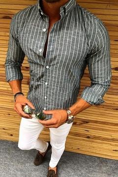 Mens Popular Lapel Collar Long Sleeve Button-Up Slim Fit Striped Shirt
