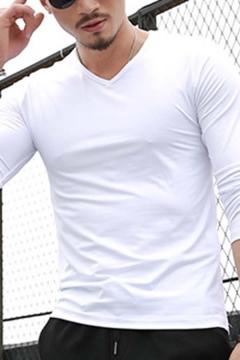 Men's Simple Long Sleeve V-Neck Long Sleeve Slim Fit Solid Color T-Shirt Top