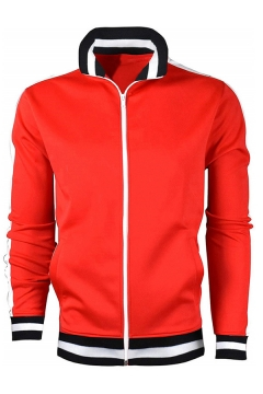 Mens Casual Fashion Stripe Trim Long Sleeve Zip Up Active Jacket Sweatshirt