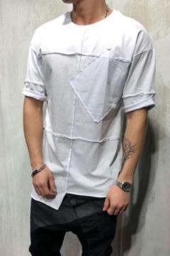 Summer Trendy Inverted Seam Detail Short Sleeves Irregular Hem Solid Color T-Shirt