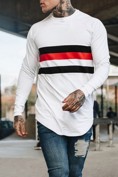 Color-Block Stripe Panel Round Neck Long Sleeves Arc Hem Slim Fitted T-Shirt