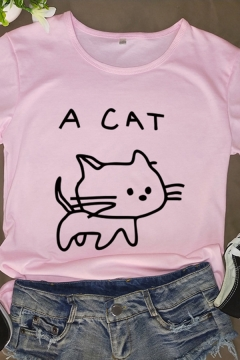 Girls Lovely Cat Letter A CAT Printed Round Neck Short Sleeves Graphic T-Shirt