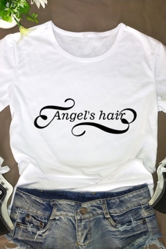 Funny Letter ANGEL'S HAIR Short Sleeves Crew Neck Casual Summer T-Shirt for Women