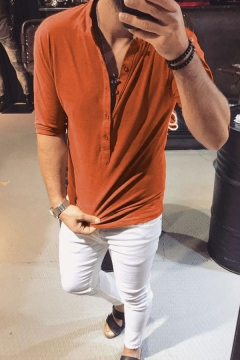 Edgy Men's Solid Color Half-Sleeves Button Placket Loose Fit Summer T-Shirt