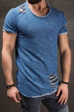 Vintage Style Plain Short Sleeves Round Neck Destroyed Ripped Detail Fitted T-Shirt