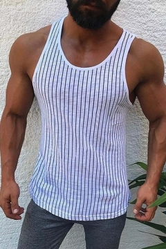 Classic Stripes Pattern Round Neck Slim Fit Sports Tank Top for Men