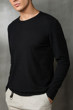 Metrosexual Men's Simple Plain Long Sleeves Round Neck Basic Knit Pullover Sweater