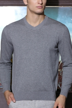 Simple Style Plain Long Sleeves V-Neck Slim Fit Leisure Sweater Knitwear