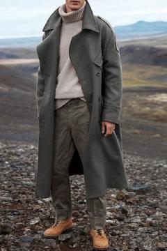 Men/'s Fall Mid Long Jacket Lapel Button Front Slim Fit Peacoat Wool Outwear Coat