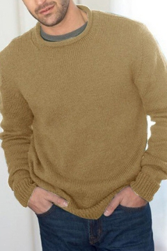 Men's Leisure Plain Long Sleeves Crewneck Loose Fit Pullover Sweater