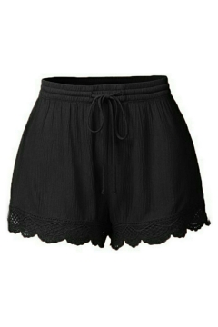 Casual Plain Drawstring Waist Lace Trim Wide Leg Shorts for Girls