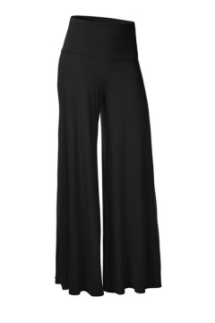 Casual Women's Plain High Rise Full Length Wide Leg Pants