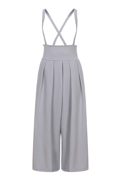 Casual Women's Fashion High Rise Cropped Leg Plain Wide Leg Suspender Trousers