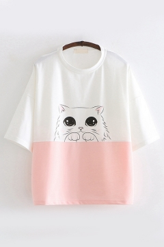 Lovely Girls Short Sleeve Round Neck Cat Printed Color Block Loose Fit T Shirt