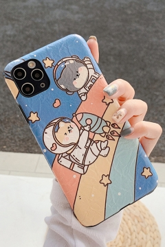 Lovely Amazing Astronaut Bear Rocket Printed Couple Phone Case