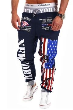 Unique American Flag Letter Printed Drawstring Waist Relaxed Sweatpants for Men