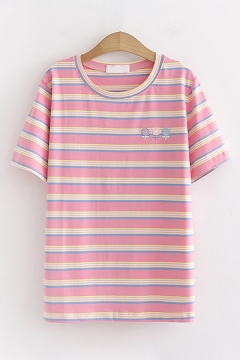 Casual Girls Short Sleeve Round Neck Stripe Printed Flower Embroidery Loose Fitted Tee Top