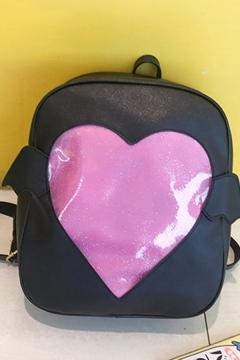 Preppy Looks Sheer Heart Wings Panel PU Leather Backpack
