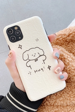 Chic Fancy Letter HUG CUUUTE Dog Printed Couple Phone Case