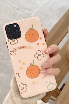 Novelty Letter HAPPY ORANGE Flower Orange Print Origami iPhone 11 / X Case in Yellow