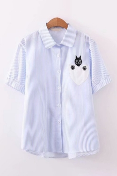 Casual Womens Short Sleeve Lapel Collar Button Down Cat Heart Embroidered Stripe Print Relaxed Shirt