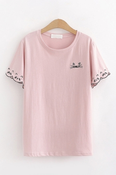 Popular Fancy Girls Short Sleeve Round Neck Letter ONLY Cat Embroidery Loose Tee