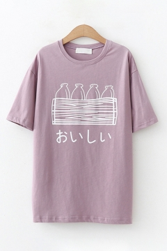 Cute Kawaii Short Sleeve Round Neck Japanese Letter Bottle Graphic Loose T Shirt for Girls
