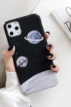 Designer Creative Oil Planet Painting Printed Phone Case in Black
