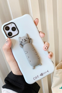Lovely Letter CAT Fishbone Cat Print Silicone Phone Case
