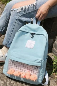 Lovely Campus Sheer Pocket Patched Waterproof Backpack