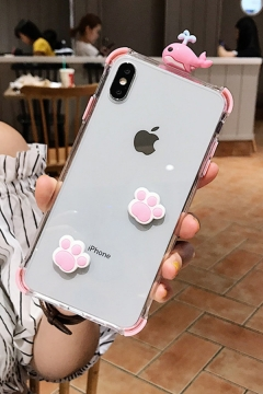 Lovely Cat Paw Dolphin Sheer iPhone 11 Pro Phone Case in White