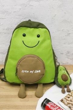 Cute Kawaii Street Letter OPEN MY LOVE Avocado Printed Backpack in Green