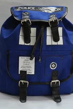 Famous Doctor Who Letter POLICE BOX Print Buckle Strap Backpack in Blue