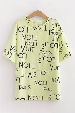 Chic Trendy Girls Short Sleeve Round Neck All Over Letter PARIS Print Relaxed Tee