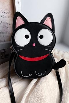 Popular Cute Girls Cat Printed Messenger Bag in Black
