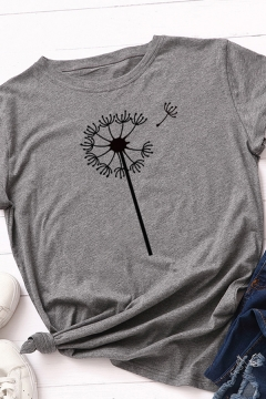 Leisure Basic Rolled Short Sleeve Crew Neck Dandelion Patterned Fitted T Shirt for Women