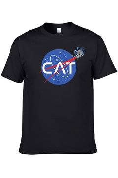 Cool Mens Short Sleeve Crew Neck Letter CAT Cartoon Graphic Color Block Regular Fitted T-Shirt