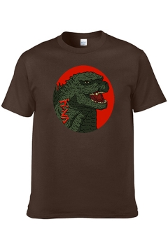 Cool Fashion Mens Short Sleeve Crew Neck Dinosaur Printed Relaxed Fitted Tee Top