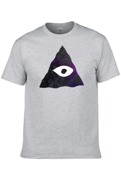 Leisure Mens Short Sleeve Crew Neck The All-Seeing Eye Printed Regular Fitted T Shirt