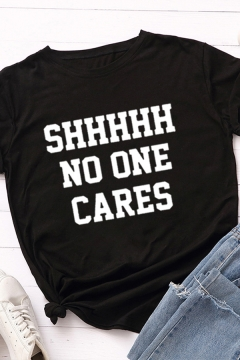 Leisure Chic Roll Up Sleeve Crew Neck Letter SHHHHHH NO ONE CARES Print Slim Fitted T Shirt for Women