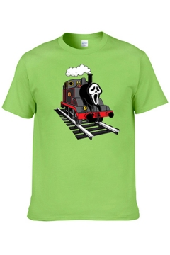 Leisure Mens Short Sleeve Crew Neck Creepy Face Train Printed Loose Fitted Tee Top