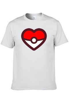 Popular Mens Short Sleeve Crew Neck Heart Printed Contrasted Relaxed Fitted T Shirt