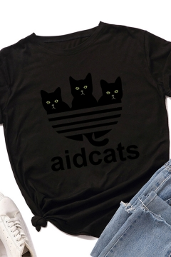 Popular Girls Roll Up Sleeve Crew Neck Letter AIDCATS Cat Graphic Fitted T Shirt