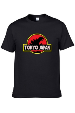 Cool Boys Short Sleeve Crew Neck Letter TOKYO JAPAN Dinosaur Graphic Relaxed Fit T-Shirt