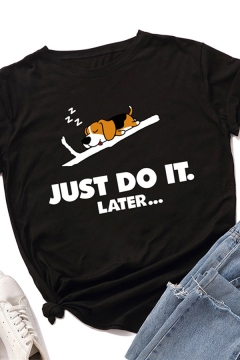 Trendy Womens Rolled Short Sleeve Crew Neck Sleeping Dot Letter JUST DO IT LATER Print Slim Fit Graphic Tee